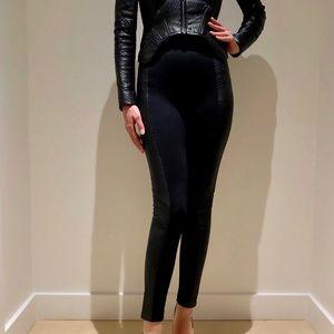 BCBGMAXAZRIA Faux-Leather side panel leggings.